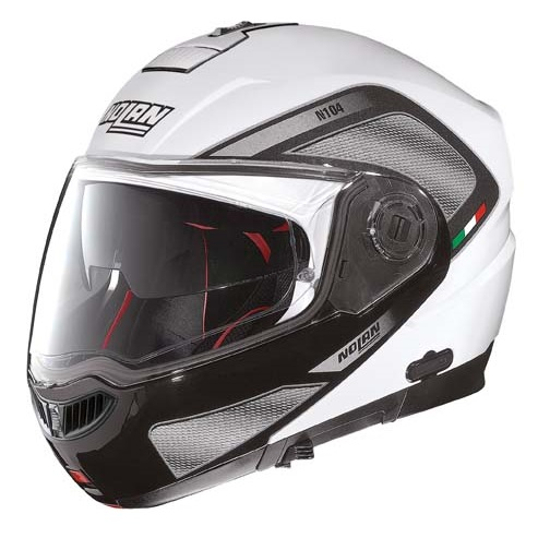 Moto helma Nolan N104 Absolute Tech N-Com Metal White – M (57-58)